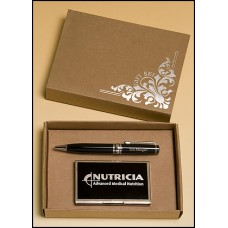 NEW     PKC6500 Chrome Plated Pen & Card Case Set